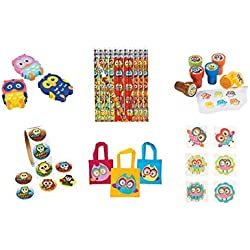 220 PC Owl Birthday Party Favor - 12 Rubber Owl Erasers, 100 Owl Stickers, 12 Owl Pencils & 12 Owl Stampers & 12 Tote Bags, 72 Owl Party Tattoos