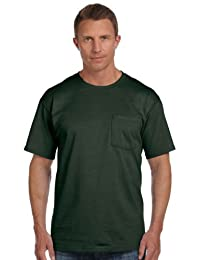 Fruit of the Loom 5 oz., 100% Heavy Cotton HD® Pocket T-Shirt (3931P) FOREST GREEN