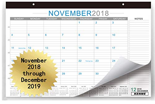 """Price comparison product image Desk Calendar 2019,  17""""×11"""" Wall Calendar for Home and Office (November 2018 Through December 2019) Spacious Notes Section,  12 Months Quick View - Large Monthly Academic Desk Planner Pad."""