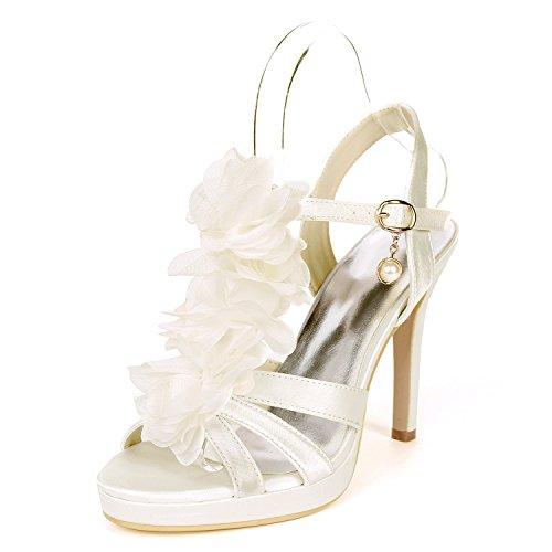 De Forme Court Bout Talon Pompe UK7 Ager Femmes 18H EU40 5915 Sandales Base Chaussures Chaussures Satin Flower Soirée Ivory De Ouvert Mariage Plate Stiletto wSpUqF