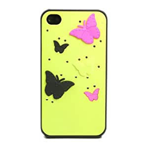 HJX iphone 4/4s 3D Butterfly Rhinestone Hard Plastic Skin Case Cover for Apple Iphone 4 4g 4s Yellow