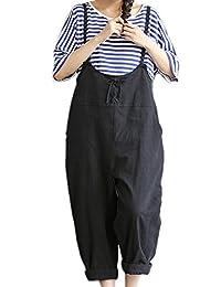 Women Vintage Cotton Linen Long Baggy Overalls Jumpsuits Plus Size