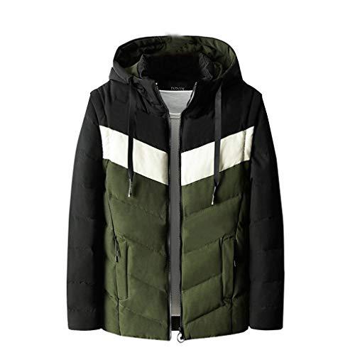 iHHAPY Men's Winter Jacket Thick Coat Puffer Jacket Parka Coat Medium Length Zipper Hoodie Cotton Padded Jacket Coat (Best Oven Brands Australia)