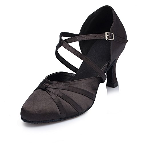 Minishion Women's Ribbon Knot Black Satin Ankle Wrap Latin Dance Shoes 8.5 M US