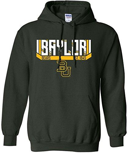 Baseball Jersey Bear (NCAA Baylor Bears Adult Unisex NCAA Bars & Stripes Hooded Sweatshirt,Medium,ForestGreen)