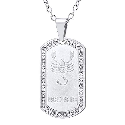 U7 Men Women 12 Zodiac Constellation Horoscope Jewelry Stainless Steel Cable Rolo Chain 22 Inch Rhinestone Inlaid Iced Out Birth Zodiacs Star Signs Dog Tags Necklace Pendant-Scorpio(10.24~11.21) (Best Dog For Zodiac Sign)