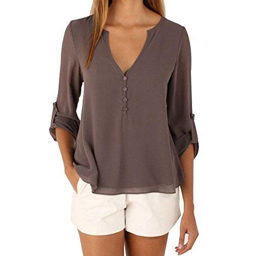 neue Version Top Design erstklassige Qualität Evishine Damen Blusen Sommer Casual V-Ausschnitt Langarm Lose Chiffon  Blusen T-Shirt Tops