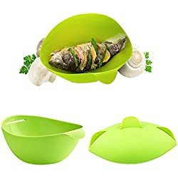 Aremazing Silicone Bread Maker Fish Steamer Microwave Cook Tools Fish Poacher Food Vegetable Steamer Serving Bowl (Green)