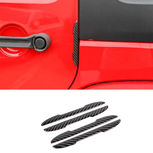 Bestmotoring Carbon Fiber Rubber Car Door Anti-Collision Strip, Car Door Protective Rubber Guard 4pcs for Jeep Wrangler JK 2007-2017