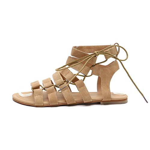 PAOLIAN 2018 Zapatos Cruz Verano Vestir Cordones Open Beige de Mujer Sandalias Playa Sandalias Blanda de para Suela Romano Sandalias Talla Planos de de Moda Fiesta Toe Grande rwxYqnrOC