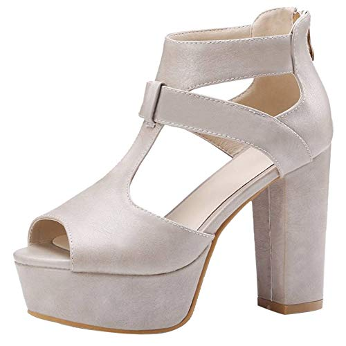 Taoffen Gris Toe Talon Femmes Sandales Chaussures Haut Peep Plateforme w8rOwaW7pq