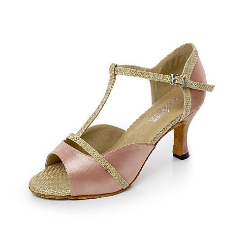 Shoes Nude T Fla Nude T Dance Heel Satin Women's Q qSzUIwpS