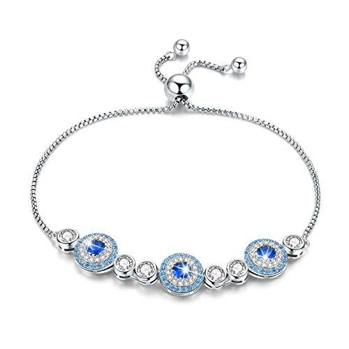 BAMOER Evil Eye Tennis Bracelet 925 Sterling Silver Lucky Adjustable Bracelet for Women Girl Ladies with Gift Box