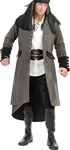 Mens XS Teen 14-18 Treasure Island Grey Pirate Duster Jacket Trench Coat