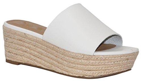 New White Pu Women Sandals - MVE Shoes Women's Slip on Sandals - Cork Summer Platforms Sandals - Classic Espadrilles Shoes, White pu Size 10
