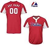 Majestic 2-Button Cool-Base Philadelphia Phillies 2-Color Red/White Blank or Custom Back (Name/#) MLB Officially Licensed Baseball Placket Jersey