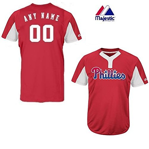 Majestic CUSTOM Adult Large Philadelphia Phillies 2-Button Placket Cool-Base MLB Licensed Jersey