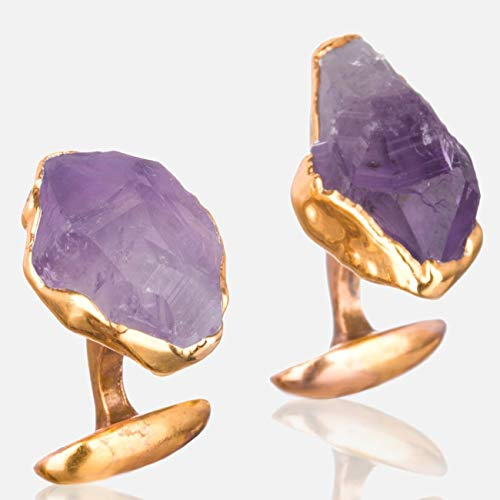 Large Raw Amethyst Cuff Links, February Birthstone Gift, Fathers Day Gift