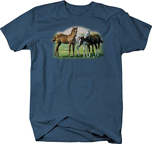 - Majestic Horse Stalions Loving Eacother Farm Wildlife Colt Foal Tshirt - Medium Denim