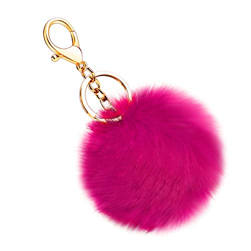 Hot Pink Plush - Soleebee Soft Artificial Rabbit Fur Keychain Plush Ball Key Ring Cute Pom Pom Bag Charm for Women Girls (Hot Pink)