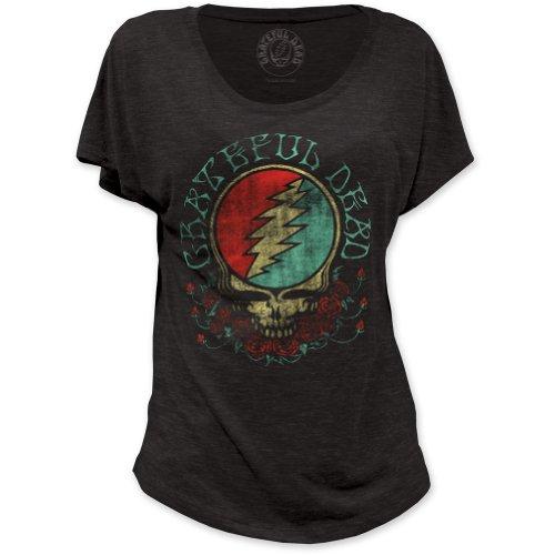 - Grateful Dead Skull Space Face Print Junior's Dolman Tri-Blend Shirt X-Large Black