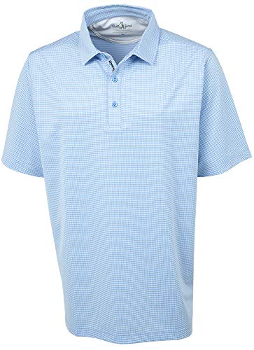 Bobby Jones Golf Apparel - Short Sleeve XH2O Grid Jacquard Performance Polo Shirt for Men Sky Blue (Jacquard Polo Golf Shirt)