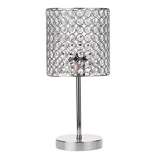 Lutriva Home Contemporary Mini Crystal Table Lamp, Decorative Nightstand Desk Lamp, Chrome Finished Crystal Beaded Drum - Table Beaded Lamp
