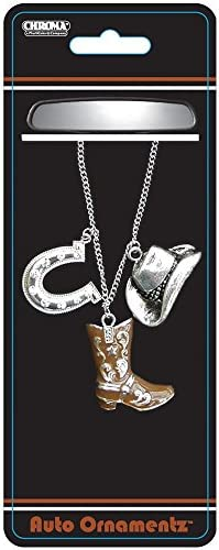Silver Cowboy Hat and Horseshoe with Clear Gem Crystals and Brown Cowboy Boot Auto Car Truck SUV Vehicle Universal-fit Rear View Mirror Ornament Auto Ornamentz