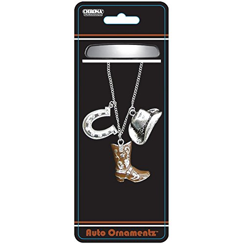 Silver Cowboy Hat and Horseshoe with Clear Gem Crystals and Brown Cowboy Boot Auto Car Truck SUV Vehicle Universal-fit Rear View Mirror Ornament - Auto Ornamentz