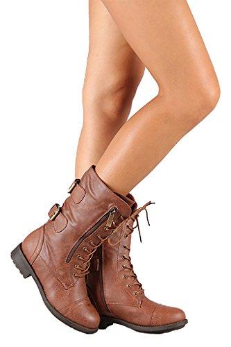 Top Moda Frauen-Pack-72 Lace Up Combat Boot Premium Tan Pu