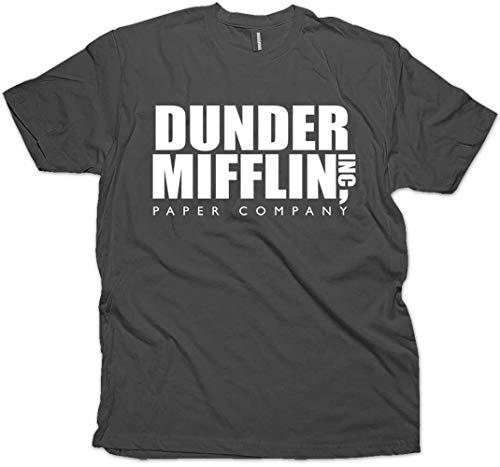 Daft Threads ~ Dunder Mifflin Office T-Shirt & Sticker Charcoal (Medium)