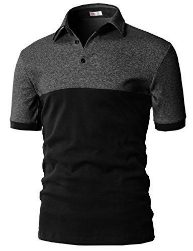 H2H Mens Fitted Cotton Polo T-Shirts Charcoal US L/Asia XL ()