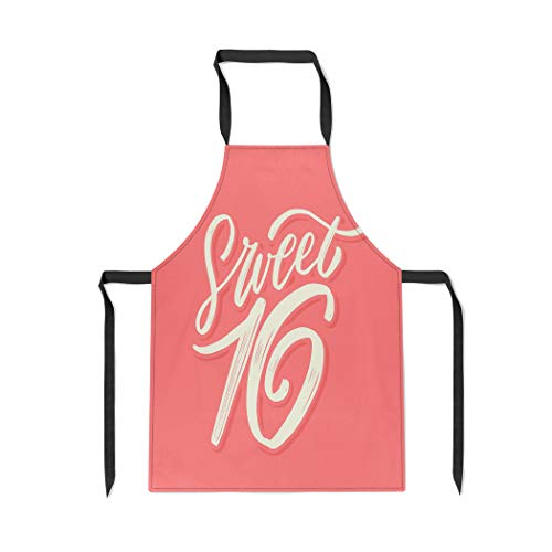(Pinbeam Apron Pink Sixteen Sweet 16 16Th Age Anniversary Birthday with Adjustable Neck for Cooking Baking Garden)