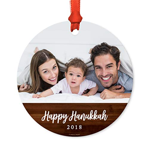 (Andaz Press Photo Personalized Christmas Ornament, Navy Blue Banner, Happy Hannukah 2018, 1-Pack, Includes Ribbon and Gift Bag, Custom Image)