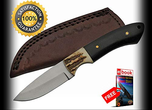 Hunting SHARP KNIFE Rite Edge 3'' Blade Black Horn/Stag Handle + Leather Sheath Combat Tactical Knife + eBOOK by Moon Knives (Genuine Stag Doctors Knife)
