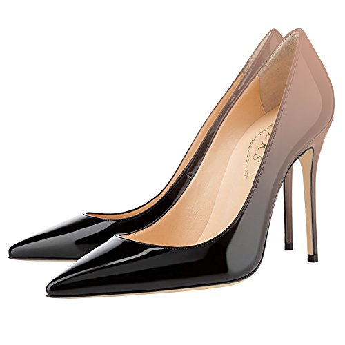 Con Abito In Sposa 10cm Gradient Pumps Party Verniciata Nero amp; Pelle Eks Da Pizzo Print amp;nudo Ladies w8SnBOAqT