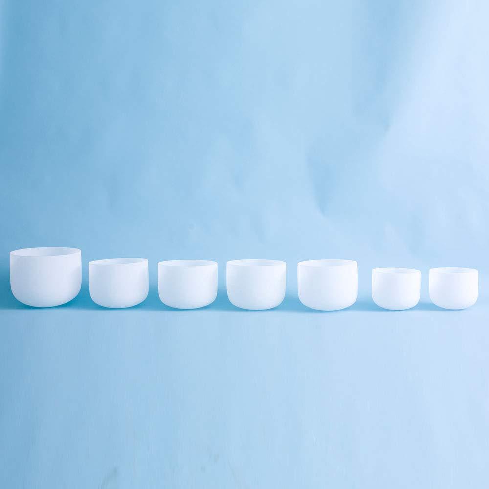 7''-12'' 432Hz Chakra Tuned Set of 7 Frosted Quartz Crystal Singing Bowl by SOUNDENERGY (Image #3)