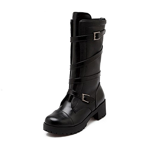 Solid AmoonyFashion Closed Black Buckle Women's Kitten Heels Round PU Boots Toe r8rIO