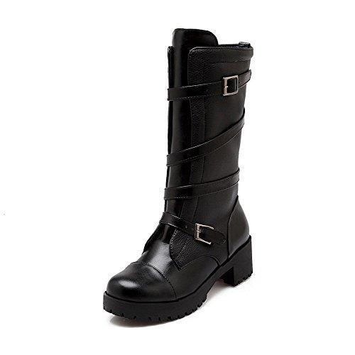 AgooLar Damen Weiches Material Reißverschluss Rund Zehe Mittler Absatz Mitte-Spitze Stiefel, Schwarz, 40