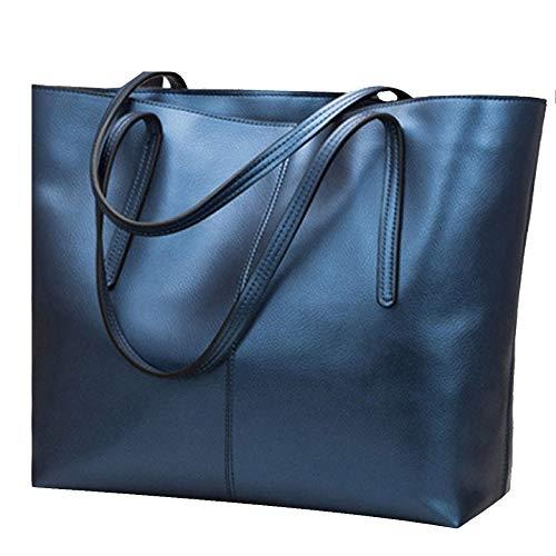 Womens Pu Leather Tote Bags Handbag Soft Top Handle Shoulder Bag Large Bag,Blue-OneSize