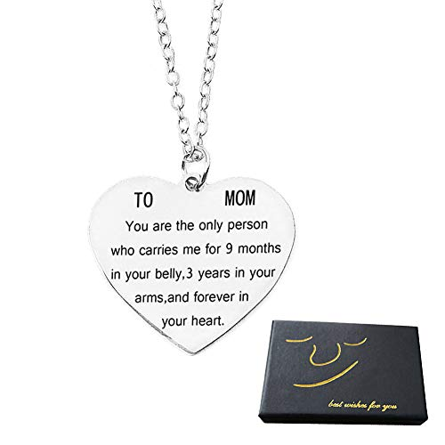 Gifts for Mom Women You are The Only Person Heart Pendant Necklace Mother Gifts Charm Necklace Gifts for Mom from Son Daugter Mother's Day Gifts Birthday Christmas Gifts for Mother (10 Dollar Necklaces)
