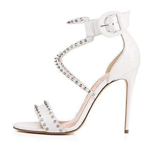 Zapatos de Mujer PU Primavera/Verano Club Zapatos/Sandalias Gladiador Tacón de Aguja Punta Redonda Damas Brillo para Boda/Fiesta y Noche/Sandalias (Color : Blanco, tamaño : 41)