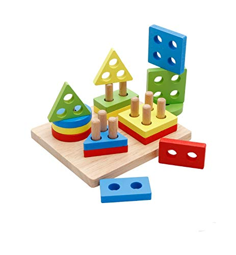 DalosDream Wooden Educational Preschool Toddler Toys for 1 2 3 4-5 Year Old Boys Girls Shape Color Recognition Geometric Board Blocks Stack Sort Chunky Puzzles Kids Baby Non-Toxic Toy