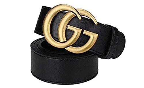 Black Instagram hot Leather Belt (105cm-125CM) (Old Gold, (33-35) 110cm)
