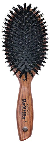 Spornette DeVille Cushion Oval Boar Bristle Brush (#342) with Wooden Handle for Straightening, Smoothing, Detangling, Daily Maintenance, Styling & Brush Outs on All Hair Types for Women, Men, Kids
