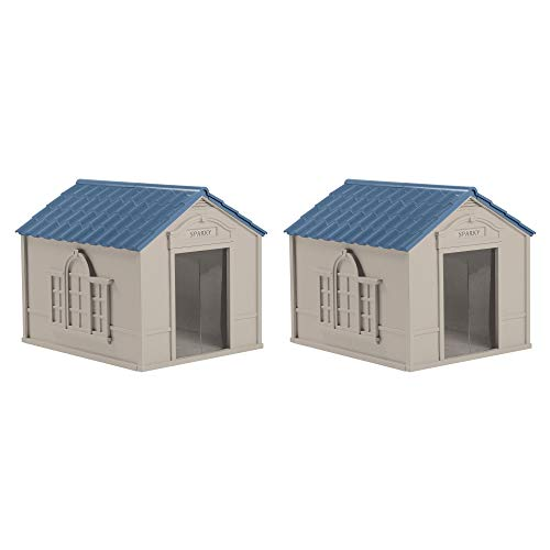 Suncast DH350 Deluxe Weatherproof Snap Together Resin Large Dog House (2 Pack)