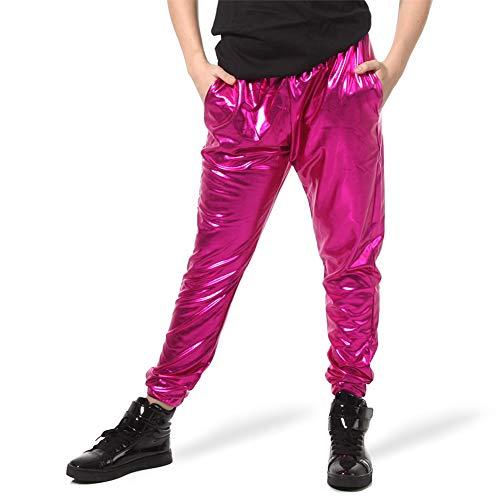 (Alexandra Collection Womens Metallic Foil Dance Costume Jogger Pants with Pockets Silver Medium)