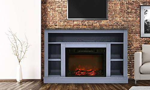 Cheap CAMBRIDGE 47 in. Electric Fireplace with 1500W Charred Log Insert and A/V Storage Mantel in Slate Blue Black Friday & Cyber Monday 2019