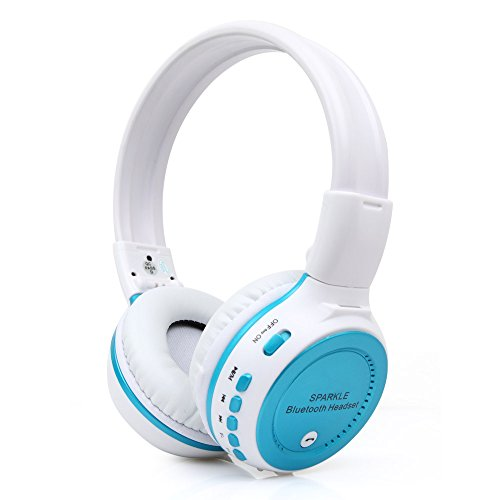 ECOOPRO Foldable Wireless Bluetooth Hands Free Over Ear Stereo Headphones Headset Earphone Supporting TF card /FM Radio Audio Cable Inclued (Blue)