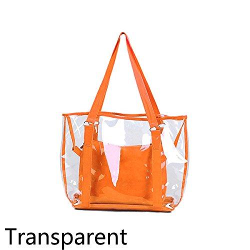 Abby Girls Bolso Transparente de la moda del PVC Bolso simple del caramelo Bolsas de empaquetado transparentes impermeables Naranja